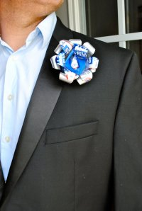 A PBR beer can boutonniere